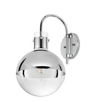 "Lighting - Sonneman Apollo 10"" Sconce I Lightsonline.com - polished chrome and glass wall sconce, modern mercury glass wall sconce, mercury glass and chrome wall sconce,"