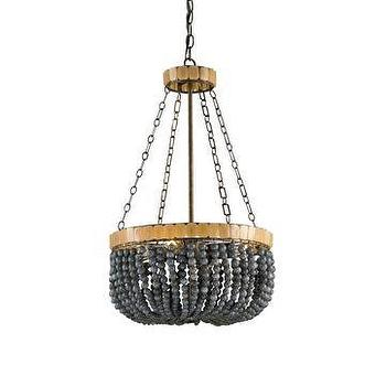 Lighting - Currey & Company Lana 4-Light Chandelier I LightsOnline.com - gray beaded chandelier, grey and gold beaded chandelier, beaded chandelier,