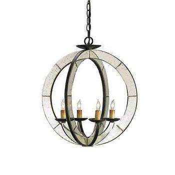 Lighting - Currey & Company Meridian Chandelier I LightsOnline.com - mirrored chandelier, circular mirrored chandelier, antique mirrored chandelier,