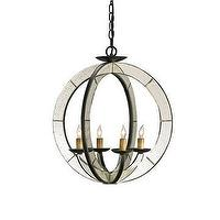 Lighting - Currey & Company Meridian Chandelier I LightsOnline.com - mirrored chandelier, circular mirrored chandelier, antique mirrored chandelier,