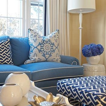 Navy Tufted Sofa Contemporary Living Room Owens And
