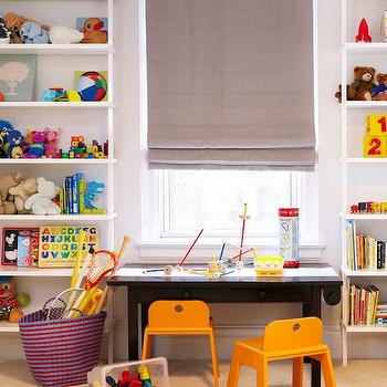 Chango & Co. - boy's rooms - playroom, kids playroom, boys playroom, kids play room, boys play room, play table, play chairs, play table and chairs, ladder bookshelf, white ladder bookshelf, gray roman shade,