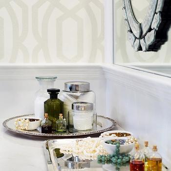 Chango & Co. - bathrooms - trellis wallpaper, wainscoting, bathroom wainscoting, mirror on mirror, venetian mirror, silver jewelry trays,  Master