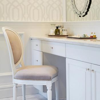 Chango & Co. - bathrooms - trellis wallpaper, wainscoting, bathroom wainscoting, mirror on mirror, venetian mirror, silver jewelry trays, built in vanity, make up vanity, built in make up vanity, vanity chair, french vanity chair, light gray vanity chair, round back chair, french round back chair, round back french chair, mirror on bathroom mirror, mirror on vanity mirror,