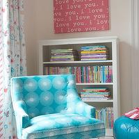 Kerry Hanson Design - girl's rooms - patterned chair, turquoise patterned chair, turquoise accent chair, turquoise pouf, turquoise blue pouf, turquoise leather pouf, turquoise moroccan pouf, turquoise leather moroccan pouf, white bookcase, kids room bookcase, i love you art,