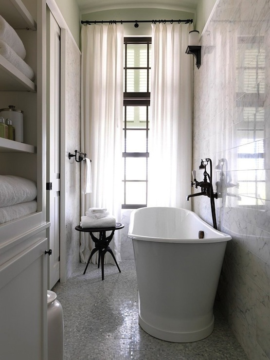 Narrow bathroom designs with bathtub : Long bathroom transitional jonny valiant