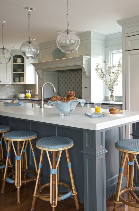 light gray kitchen tiles, blue island, blue kitchen island, blue