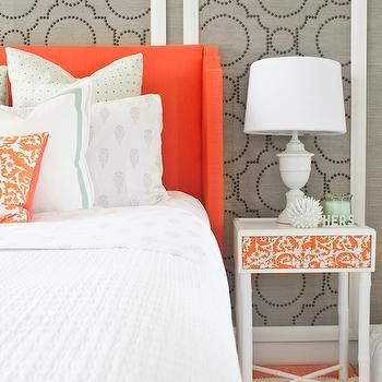 Sarah M. Dorsey Designs - bedrooms: orange headboard, upholstered headboard, orange upholstered headboard, orange fabric headboard, grasscloth, gray grasscloth, grasscloth wallpaper, gray grasscloth wallpaper, grasscloth wall panels, studded wall panels, studded grasscloth panels, orange colored headboard, wingback headboard, orange wingback headboard, border bedding, border shams, ornage pillow, embroidered pillow, orange pillow, orange embroidered pillow, studded wall panels, sherwin williams grasscloth wallpaper, ikea hack, skubb drawer, white nightstand, faux bamboo nightstand, white bamboo nightstand, white urn lamp,