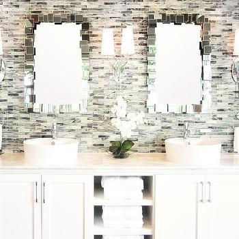 bathrooms - tile from the tile shop mirrors from Ren-wil,  double vanity with white ceramic vessel sinks glass mosaic backsplash white vanity