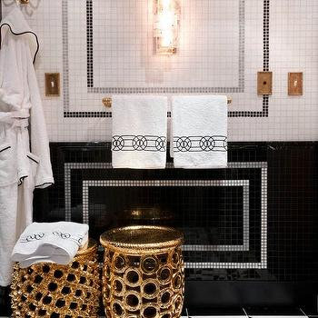Jamie Herzlinger - bathrooms - black and white bathroom, gold accents, china black tiles, china black, thasson tiles, bardiglio imperiale, bardiglio imperiale mosaic, bardiglio imperiale mosaic tiles, border tiles, black and white tiles, black and white bathroom tiles, black and white floor, black and white geometric floor, black and white tiled floor, black and white bathroom floor, gold stools,