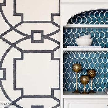 Sarah M. Dorsey Designs - entrances/foyers - diy stenciled walls, diy wall stencils, black and white stencils, black and white wall stencil, trellis wall stencil, black and white trellis stencil, white secretary desk, turquoise arabesque backing, lined secretary desk, diy trellis stencils,