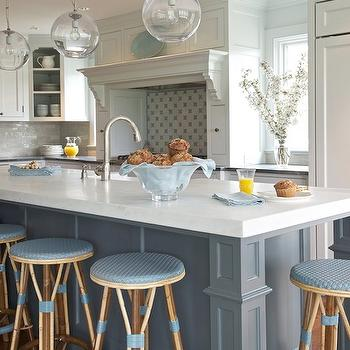 Blue Kitchen Island, Transitional, kitchen, Kerry Hanson Design