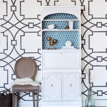 Sarah M. Dorsey Designs - entrances/foyers - diy stenciled walls, diy wall stencils, black and white stencils, black and white wall stencil, trellis wall stencil, black and white trellis stencil, white secretary desk, turquoise arabesque backing, lined secretary desk,