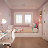JCS Construction - girl's rooms - lilac girls room, ikea desk, white ikea desk, shelf over desk, girls desk, white desk chair, lilac walls, lilac girls room walls, lilac girls bedroom walls, daybed, built in bed, built in twin bed, built in daybed, built in bookcase, Ikea LINNMON/ ADILS,