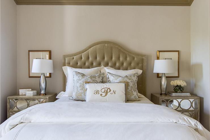 Taupe Velvet Headboard Transitional Bedroom Ej Interiors