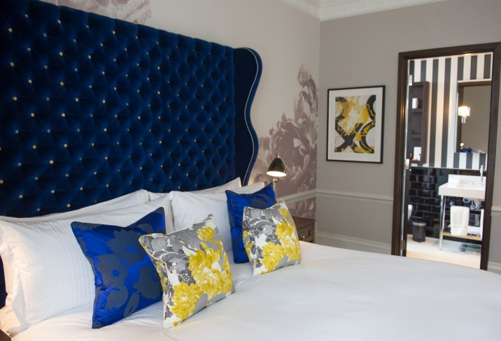 Indigo Blue Wingback Headboard Contemporary Bedroom