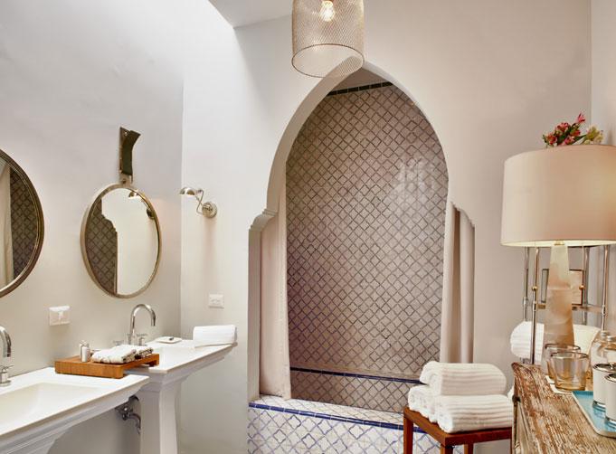 Polished nickel bathroom mirrors - Moroccan Bathroom Mediterranean Bathroom Hotel En