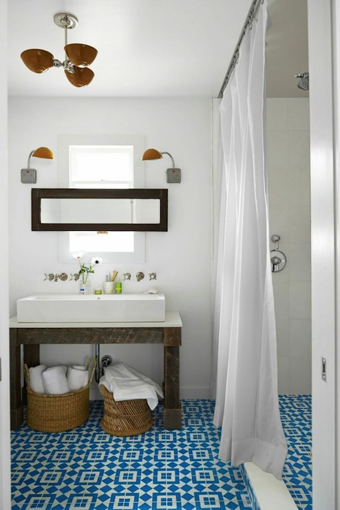 Turquoise mosaic tiles transitional bathroom behr for Country living bathroom accessories