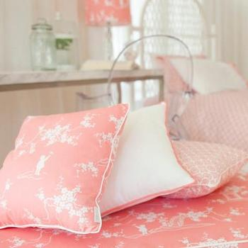 Pillows - CHLOE HARPER CUSHIONS I Habitat and Beyond Kids - pink pagoda pillows, pink and white pagoda pillow, pink and white chinoiserie pillow,