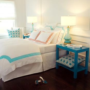 Haute Home - bedrooms - chic bedroom, wall trim, wall moldings, full wall wainscoting, turquoise lamps, turquoise blue lamps, lacquer tables, blue lacquer tables, peacock blue table, peacock blue lacquer table, peacock blue lacquer table, peacock blue parsons table, peacock blue nightstand, turquoise lattice pillows, border bedding, turquoise border bedding, turquoise border duvet, applique bedding, turquoise applique bedding, turquoise applique duvet, applique shams, turquoise applique shams, lattic shams, orange lattice shams, applique shams, turquoise applique shams, Roma Applique Bedding in Milk Stone Blue,