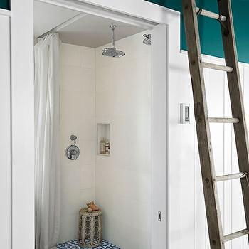 Country Living - bathrooms - Benjamin Moore - Oasis Blue - open shower, turquoise mosaic tiles, turquoise blue mosaic tiled floor, turquoise mosaic floor, turquoise blue mosaic floor, turquoise mosaic shower floor, rain shower head,