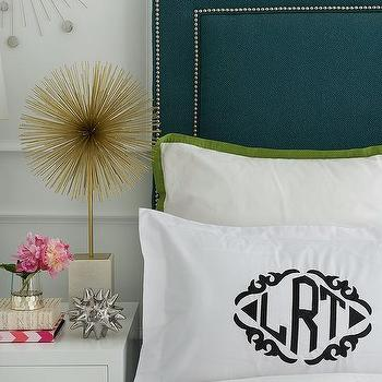 Zhush - bedrooms - zhush.com, zhush, bedrooms, home decor, bedroom decor, bedroom inspiration, girl's room, monogrammed sham, monogrammed pillow case, silver urchin object, iPad cover, designer decorative book, silver chisel votive, starburst statue,