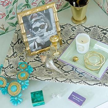 Zhush - bedrooms - zhush.com, zhush, home decor, vanity, statement necklace, andu malachite box, chloe bling earrings, silver shell, gold bamboo frame, ram ring, gold bamboo bangles, python tray, brass mint julep cup, zebra tray,
