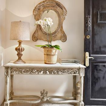 Hotel en San Miguel de Allende - entrances/foyers - black door, distressed black door, mansard mirror, mansard scroll mirror, carved wood table, carved wood console table,