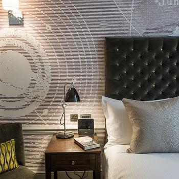 The Ampersand Hotel - bedrooms - black headboard, black leather headboard, black tufted headboard, black leather tufted headboard, textured pillows, gray pillows, gray textured pillows, textured gray pillows, galaxy wallpaper, gray linen chair,