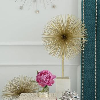 Zhush - bedrooms - zhush.com, zhush, bedroom, bedrooms, home decor, bedroom decor, girl's room, bedroom inspiration, designer decorative book, silver urchin object, starburst statue, brass wall flower art, ipad cover, silver chisel votive,