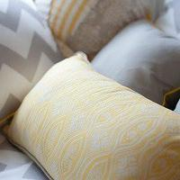 Pillows - ZACHARY HUNTER CUSHIONS I Habitat and Beyond Kids - yellow and white patterned pillow, gray and white chevron pillow, gray pillow with yellow piping,