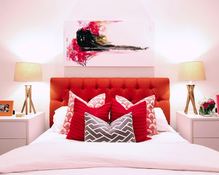 Red Tufted Headboard Contemporary Bedroom Jana Bek
