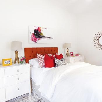 Jana Bek Design - bedrooms - red headboard, red tufted headboard, art over headboard, art above headboard, dresser as nightstand, Niche 6-Drawer Dresser, white lacquer dresser, white lacquered dresser, lacquer dresser, lacquered dresser, red pillows, gray fretwork pillow, chevron rug, wood lamps,