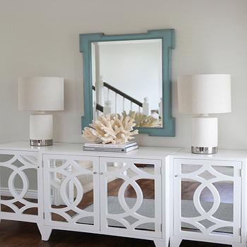 Jana Bek Design - entrances/foyers - fretwork mirror, teal mirror, teal fretwork mirror, foyer mirror, mirrored cabinet, white mirrored cabinet, beachy accents, coral accents, decorative coral,