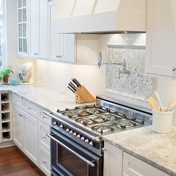 photography kitchens bertazzoni range herringbone backsplash