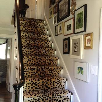 Erin Gates Design - entrances/foyers - stair runner, cheetah stair runner, glenn eden carpets, staircase wall art gallery, art gallery on staircase wall,