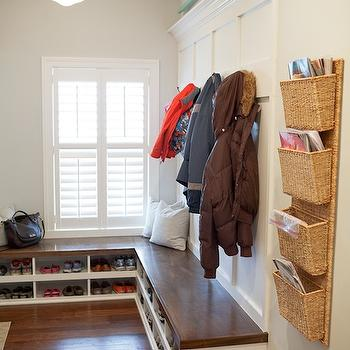 Britt Lakin Photography - laundry/mud rooms - light gray walls, light gray paint, light gray paint colors, wickham gray, L shaped bench, mud room, mud room ideas, mudroom ideas, mudroom bench, built in bench, bench with cubbies, bench with shoe cubbies, shoe cubbies, schoolhouse pendant, mudroom shoe storage, schoolhouse pendant, pocket organizers, mudroom organizers, mud room organizer, wall mounted pocket organizers, wall mounted organizers,