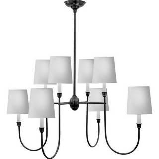 Lighting - Visual Comfort Thomas O Brien Vendome Large 8 Light Chandelier I Home Click - bronze chandelier, 8 light chandelier, bronze chandelier with white shades,