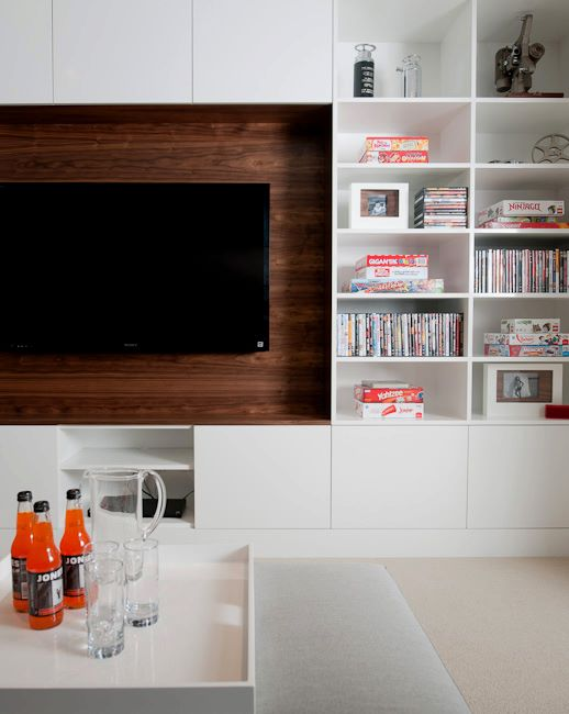 Built in media cabinet contemporary living room for Media room built in cabinets