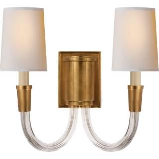 Lighting - Visual Comfort Thomas O Brien Vivian 2 Light Wall Sconce I Home Click - brass wall sconce, brass 2 arm wall sconce, brass wall sconce with white shades,