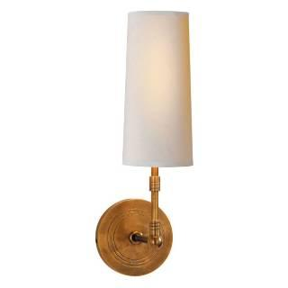 Lighting - Visual Comfort Thomas O Brien 1 Light Ziyi Sconce I Home Click - brass wall sconce, hand rubbed brass wall sconce, brass wall sconce with white shade,