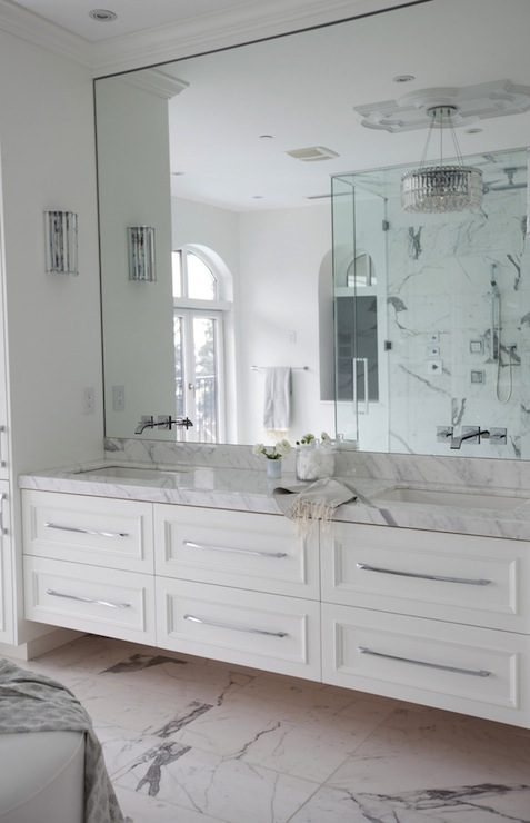 Elegant Floating Cabinets About 2 Off Floor  Circle Mirror Bathroom  Pint
