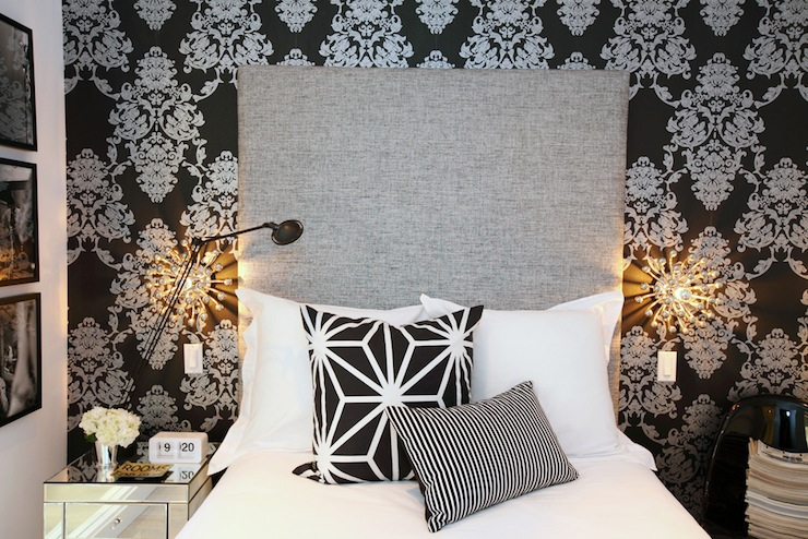 Black and white damask wallpaper contemporary bedroom for Black damask bedroom ideas