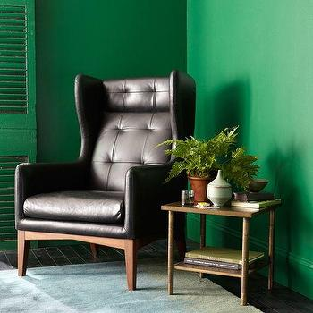 Seating - James Harrison Wing Chair - Leather | west elm - modern tufted leather wing chair, tufted leather wing chair, black leather tufted wing chair,