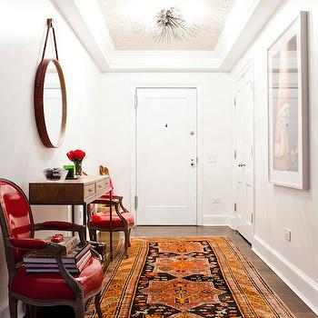 Orange Persian Rug, Eclectic, entrance/foyer, Lilly Bunn Interior