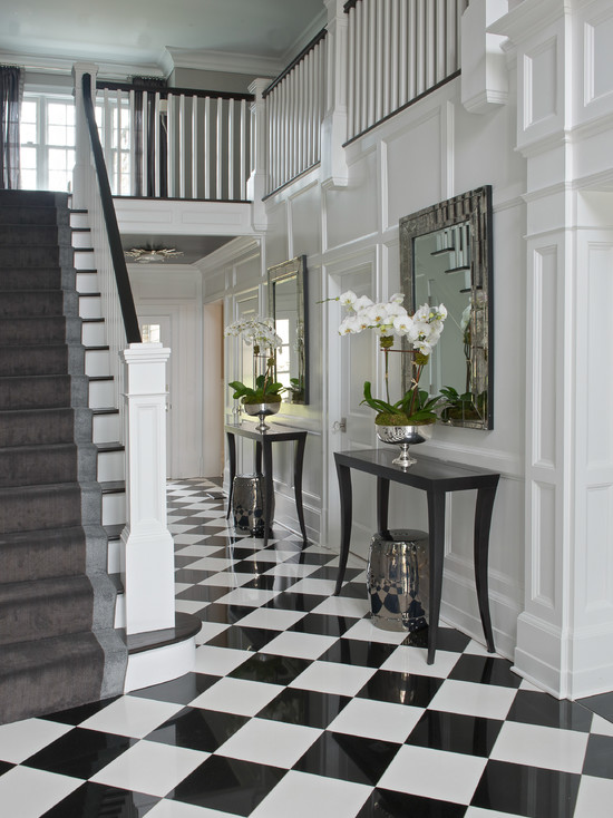 Checkered tiles transitional entrance foyer susan for Entrance foyer tiles