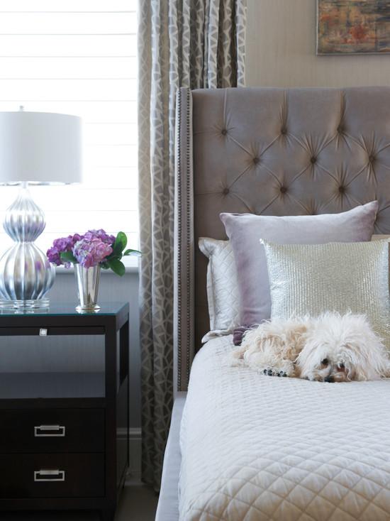 Gray velvet tufted headboard contemporary bedroom for Headboard made pillows
