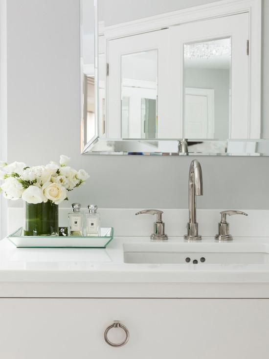 Beveled Mirror Contemporary Bathroom Susan Glick Interiors