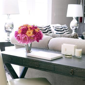 Desk Behind Sofa, Transitional, living room, Susan Glick Interiors