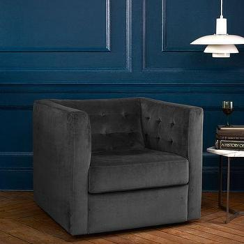 Seating - Rochester Armchair | west elm - tufted gray armchair, contemporary tufted armchair, tufted swivel armchair ,